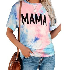 Tie Dye Blue Pink Baggy Mama Graphic T-shirt